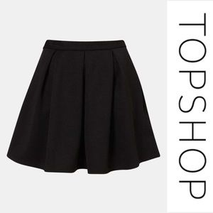 Topshop Black Ribbed Skater Mini Skirt, Size 4!